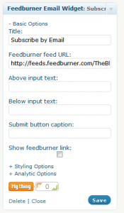 Feedburner Email Widget 1.1.2